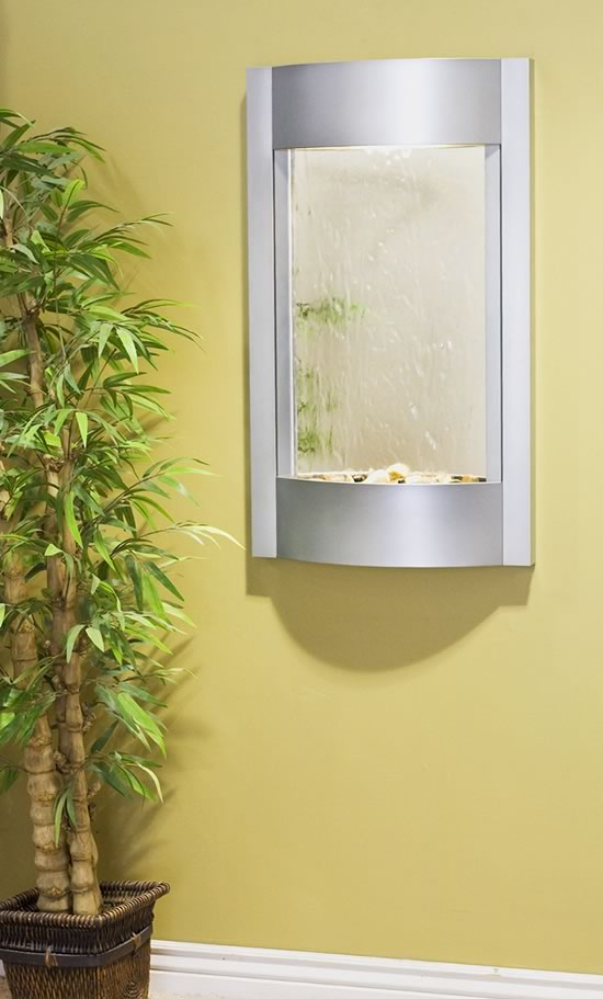adagio serene water with mirror indoor wall fountain