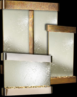 mirror and glass wall mounted fountains - Interior Wall Water Fountains